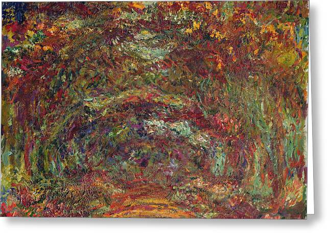 Artist Photographs Greeting Cards - The Rose Path, Giverny, 1920-22 Oil On Canvas Greeting Card by Claude Monet