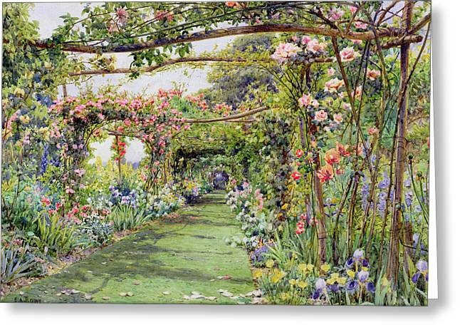 Path Drawings Greeting Cards - The Rose Pergola, Blackhurst House Greeting Card by Ernest Arthur Rowe