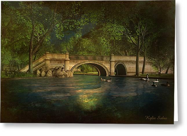 Kylie Sabra Greeting Cards - The Rose Pond Bridge 06301302 - by Kylie Sabra Greeting Card by Kylie Sabra