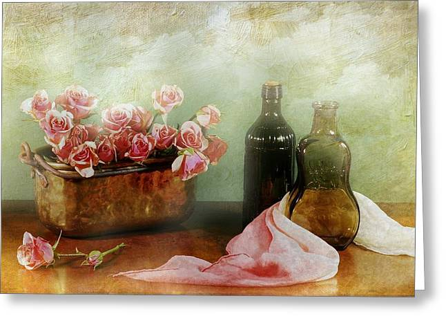 Still Life With Bottle Greeting Cards - The Rose Urn Greeting Card by Diana Angstadt