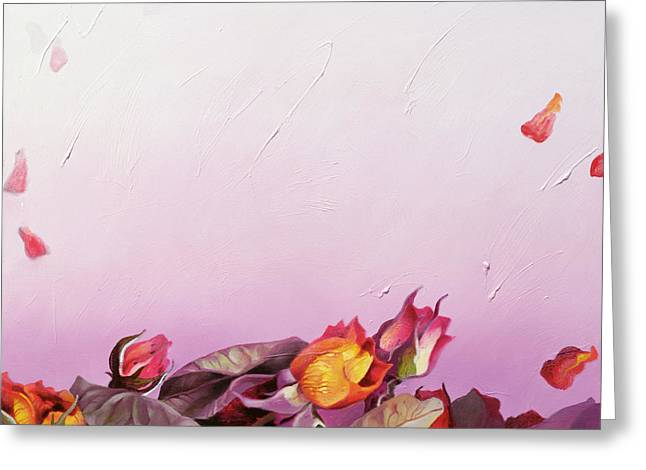 Buds Greeting Cards - The Roses, 2002 Oil On Canvas Greeting Card by Myung-Bo Sim