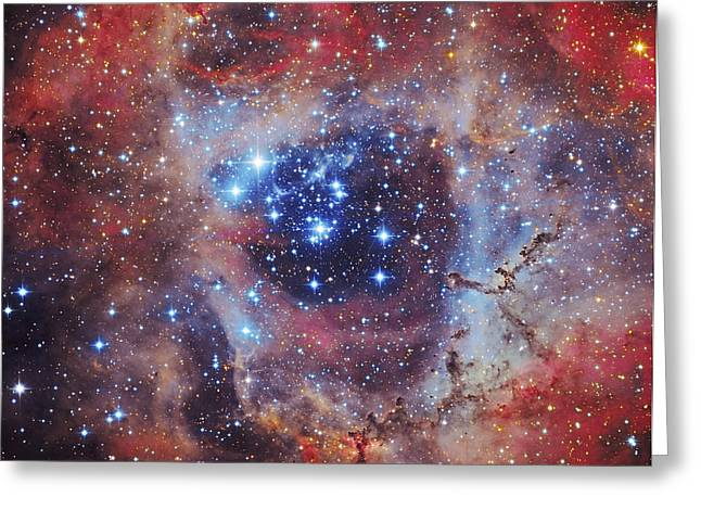 Rosette Greeting Cards - The Rosette Nebula Greeting Card by Roberto Colombari