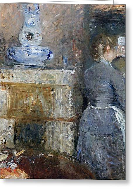 Morisot Reproductions Greeting Cards - The Rouart s Dining Room Greeting Card by Berthe Morisot