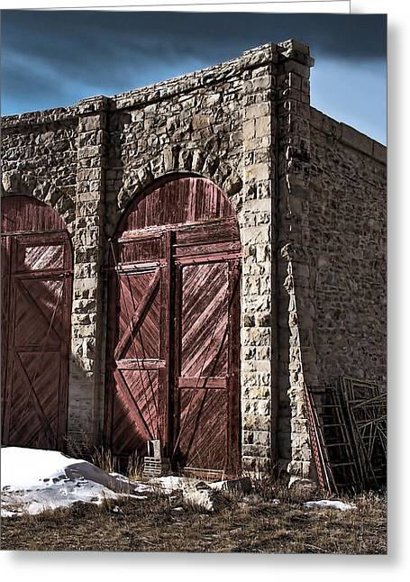 Engine House Greeting Cards - The Roundhouse Door Greeting Card by Ken Smith