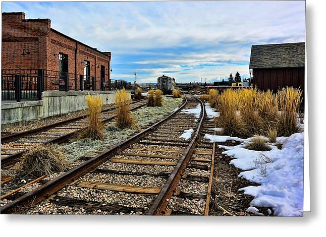 Evanston Greeting Cards - The Roundhouse Evanston Wyoming - 5 Greeting Card by Ely Arsha