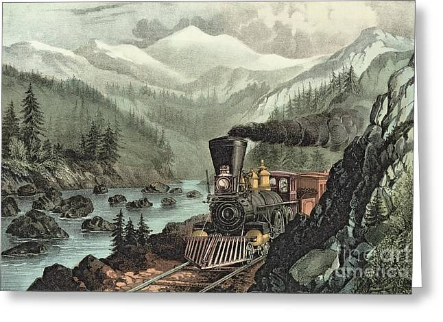 Train Greeting Cards - The Route to California Greeting Card by Currier and Ives