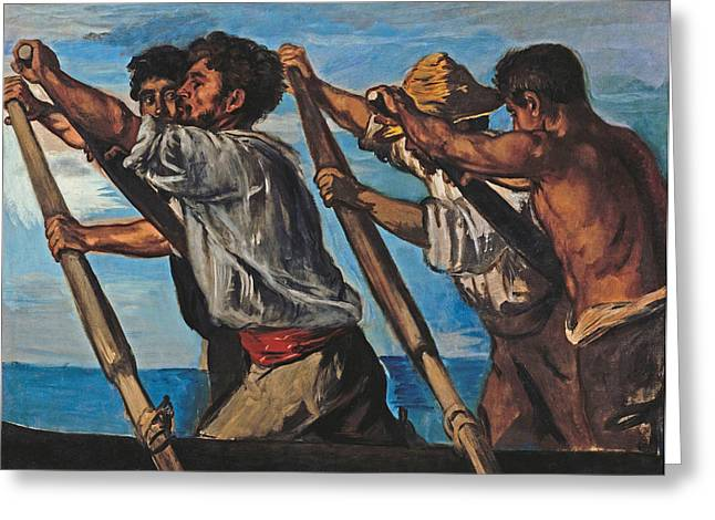 Rowers Paintings Greeting Cards - The Rowers Greeting Card by Hans von Marees