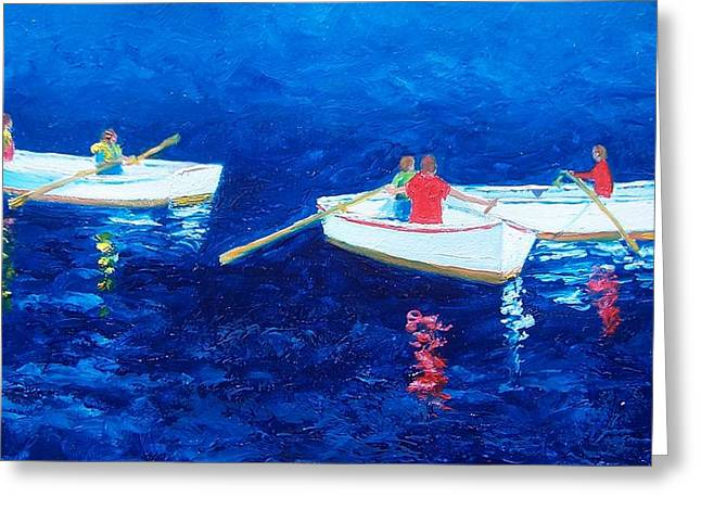 Canoe Paintings Greeting Cards - The rowers Greeting Card by Jan Matson