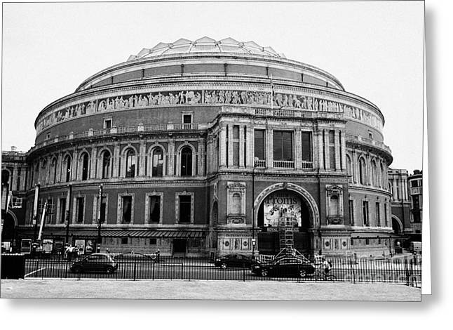 Royal Art Greeting Cards - The Royal Albert Hall with summer proms advertising London England UK Greeting Card by Joe Fox