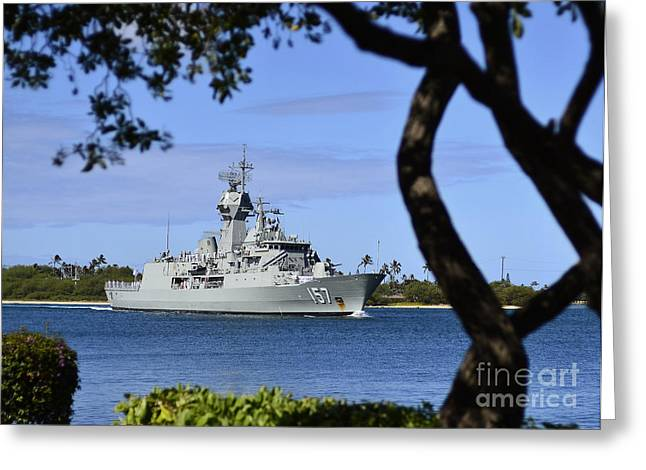 Hickam Greeting Cards - The Royal Australian Navy Anzac-class Greeting Card by Stocktrek Images