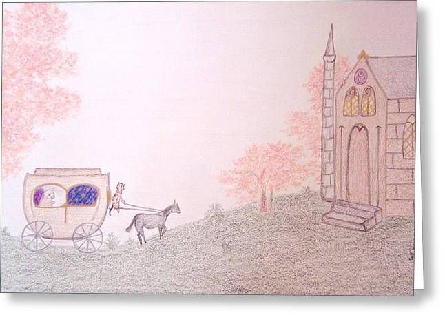 Spring Scenes Drawings Greeting Cards - The Royal Carriage Greeting Card by Christine Corretti