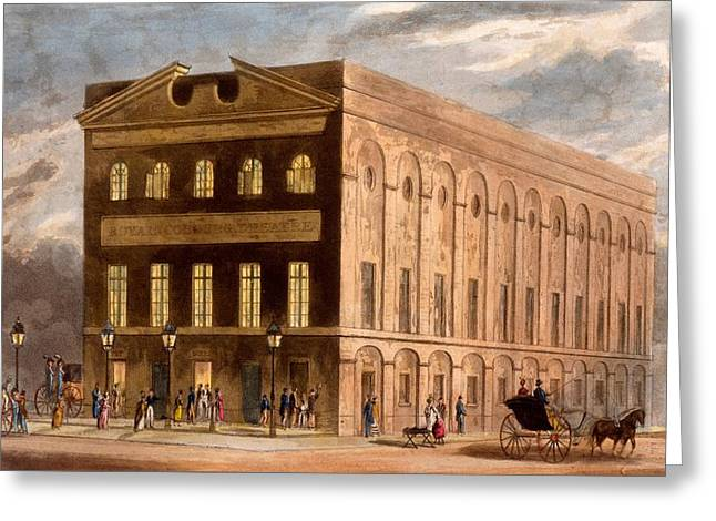 Royal Street Greeting Cards - The Royal Couborg Theatre, 1826 Greeting Card by Daniel Havell