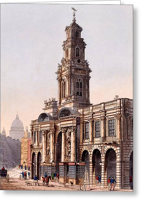 Urban Buildings Drawings Greeting Cards - The Royal Exchange, 1816 Greeting Card by Rudolph Ackerman