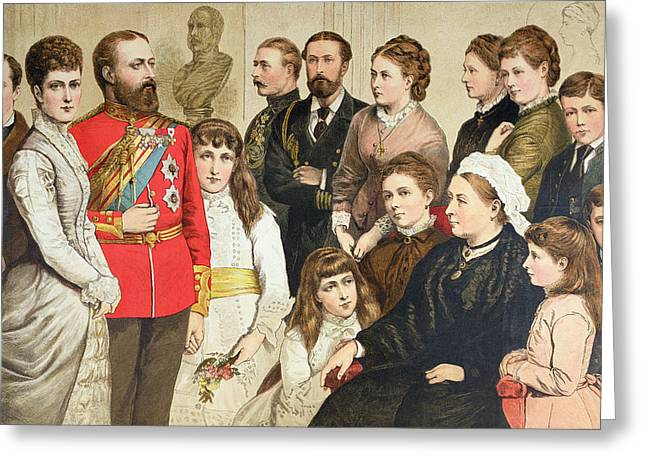 Royalty Greeting Cards - The Royal Family, 1880 Colour Engraving Greeting Card by English School