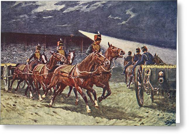 Wagon Drawings Greeting Cards - The Royal Horse Artillery Drive Greeting Card by William Barnes Wollen