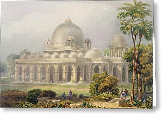 The Roza At Mehmoodabad In Guzerat, Or Greeting Card by Captain Robert M. Grindlay