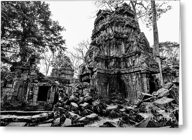 The Ruins At Ta Prohm Greeting Card by Julian Cook