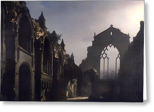 Religious Artwork Paintings Greeting Cards - The Ruins of Holyrood Chapel Greeting Card by Louis Daguerre