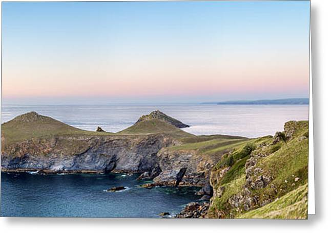Kernow Greeting Cards - The Rumps on Cornwalls Atlantic Coast Greeting Card by Helen Hotson