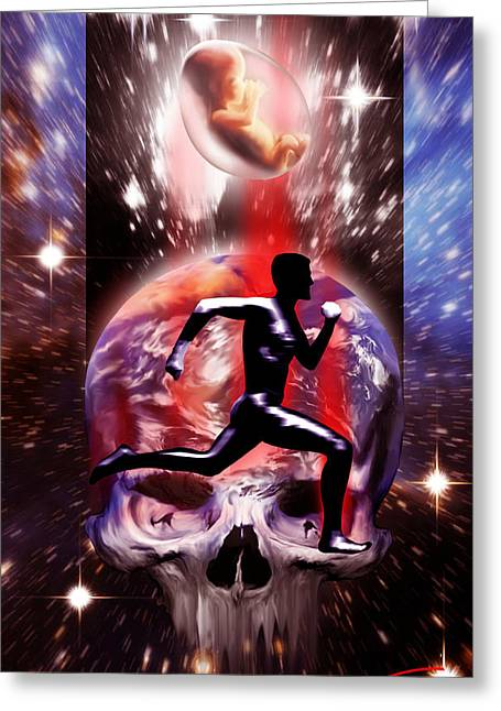 Destiny Mixed Media Greeting Cards - The Run Greeting Card by AM Santos