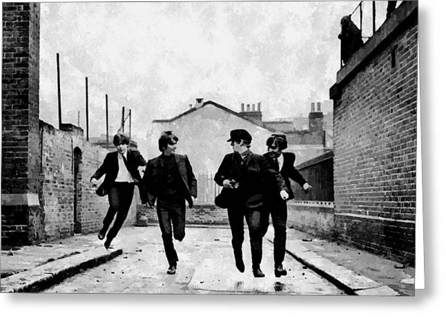 Beatles John Lennon Paul Mccartney George Harrison Ringo Starr Music Rock Icon Greeting Cards - The Running Beatles Greeting Card by Florian Rodarte