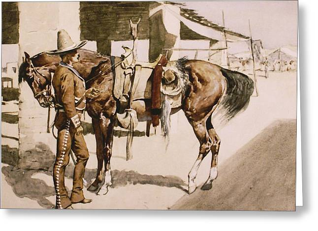 Remington Greeting Cards - The Rural Guard Mexico Greeting Card by Frederic Remington