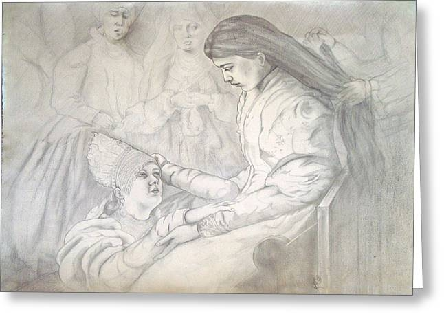 Consoling Drawings Greeting Cards - The Russian Bride Greeting Card by Karen Coggeshall