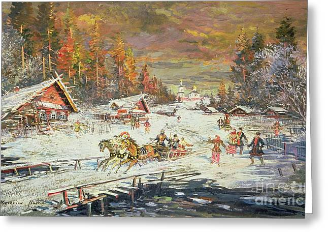 Fir Trees Greeting Cards - The Russian Winter Greeting Card by Konstantin Korovin