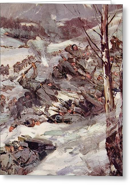 Trenches Paintings Greeting Cards - The Russians fighting their way over the Carpathians Greeting Card by Cyrus Cuneo