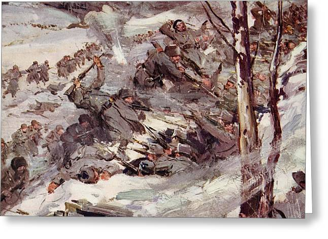 The Russians fighting their way over the Carpathians Greeting Card by Cyrus Cuneo