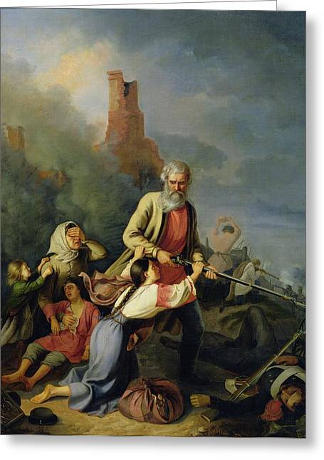 Defender Greeting Cards - The Russians In 1812, 1855 Oil On Canvas Greeting Card by Konstantin Przhceslavski