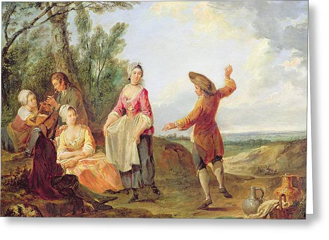 Party Photographs Greeting Cards - The Rustic Dance Oil On Canvas Greeting Card by Francois Louis Joseph Watteau