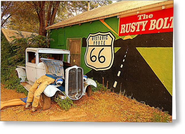 Tourist Trap Greeting Cards - The Rusty Bolt Greeting Card by Ron Regalado