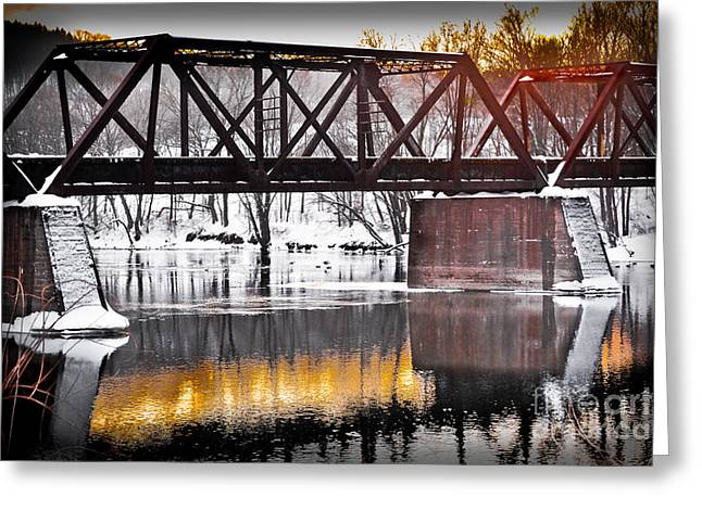 Industrial Background Greeting Cards - The Rusty Bridge Greeting Card by Gary Keesler