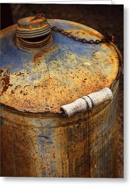 Rust Art Greeting Cards - The Rusty Can  Greeting Card by Saija  Lehtonen