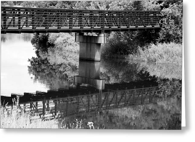 Field. Cloud Mixed Media Greeting Cards - The Rusty Foot Bridge BW Greeting Card by Angelina Vick