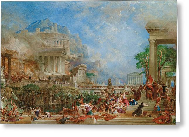 Greek Sculpture Greeting Cards - The Sack of Corinth Greeting Card by Thomas Allom