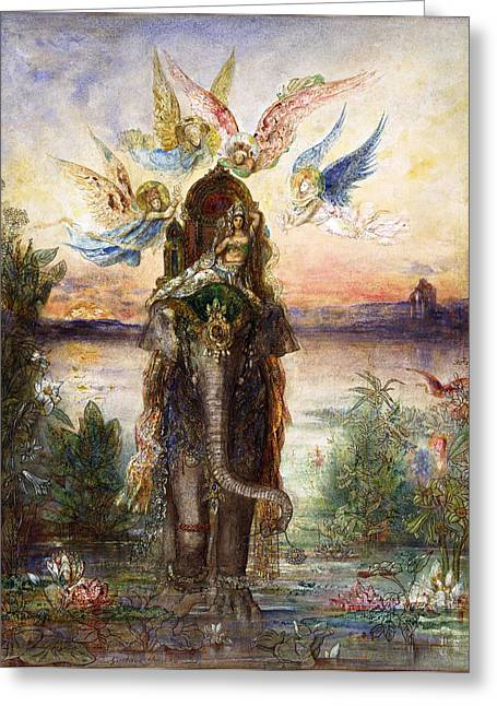 Gustave Moreau Greeting Cards - The Sacred Elephant Greeting Card by Gustave Moreau