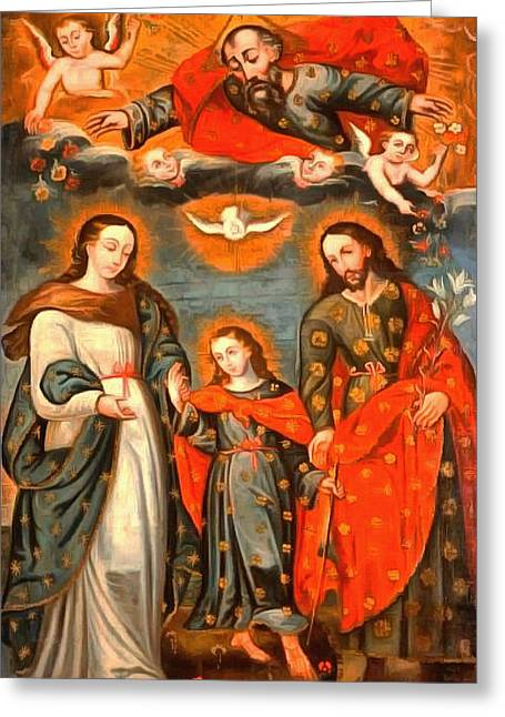 Religious Art Paintings Greeting Cards - The Sacred Family Greeting Card by Unknown