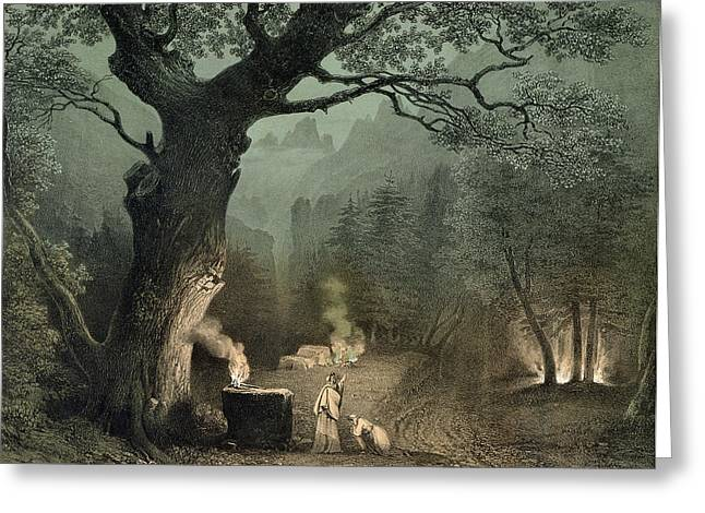 The Sacred Grove Of The Druids, From The Opera Norma By Vincenzo Bellini 1802-35 Engraving Greeting Card by French School
