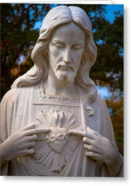 Sacred Digital Art Greeting Cards - The Sacred Heart Greeting Card by Linda Unger
