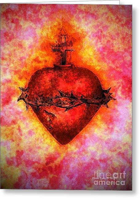 The Sacred Heart Of Jesus Christ Greeting Card by Annie Zeno