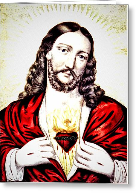 Son Of God Drawings Greeting Cards - The Sacred Heart of Jesus Greeting Card by Digital Reproductions