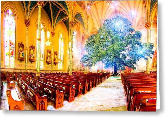 The Sacred World Greeting Card by Mark E Tisdale