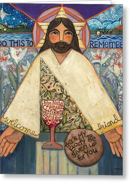 Christian Paintings Greeting Cards - The Sacrifice Greeting Card by Jen Norton