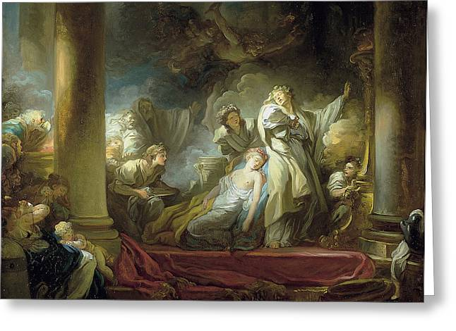 Honore Greeting Cards - The sacrifice of Callirrhoe Greeting Card by Jean-Honore Fragonard