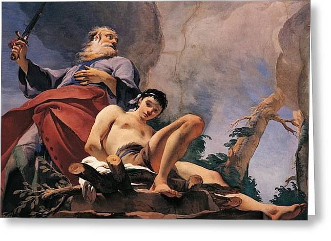 18th Century Greeting Cards - The sacrifice of Isaac Greeting Card by Giovanni Battista Tiepolo