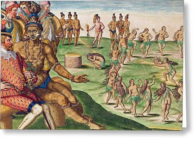 First Tribes Greeting Cards - The Sacrifice of the First-Born Son Greeting Card by Jacques Le Moyne