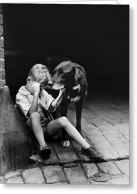 Old Dogs Greeting Cards - The sad boy circa 1921 Greeting Card by Aged Pixel