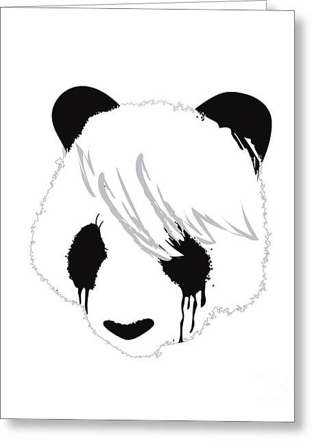 Contemporary Digital Greeting Cards - The sad panda Greeting Card by Budi Kwan